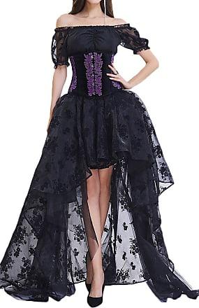 EUDOLAH Womens Gothic Steampunk Steel Boned Corset Dress Skirt Set Costume (10-12, Purple)