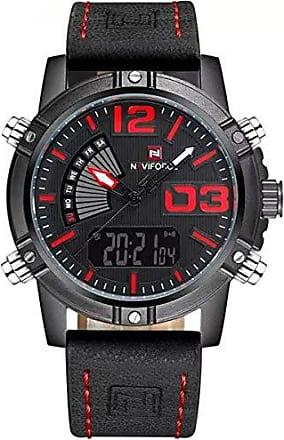 NAVIFORCE Relógio Masculino Naviforce 9095 Analógico e Digital - Preto e Vermelho