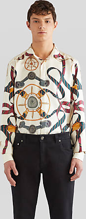 Etro Silk Shirt With Regimental Ribbons And Pegaso, Man, Beige, Size XXL