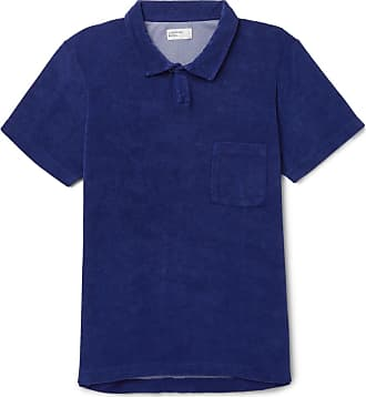 Universal Works Vacation Cotton-blend Terry Polo Shirt - Navy