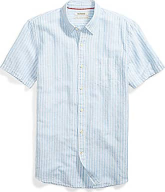 Goodthreads Mens Standard-Fit Short-Sleeve Linen and Cotton Blend Shirt, Light Blue/Multi Stripe, Small