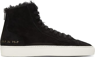 b625c3d654a5 Common Projects SSENSE Exclusive Black Shearling Tournament High-Top  Sneakers