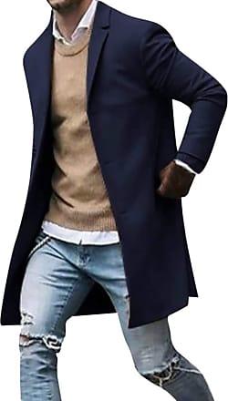junkai Mens Casual Trench Coat Business Coats Solid Color Slim Fit Overcoat Single Breasted Medium Long Jackets Top Dark Blue 2XL