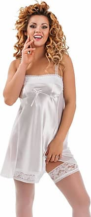 Nine X Classy Satin Babydoll with Figure Slimming Mesh Side Panels, S-6XL, Many Colours Mira White 3XL