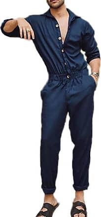 Hellomiko keephen Cargo Overalls Jumpsuit Men Stylish Dungarees Button Cool Design Long Sleeve Overalls Jumpsuits Navy Blue