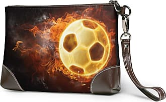 GLGFashion Womens Leather Wristlet Clutch Wallet Burning Soccer Storage Purse With Strap Zipper Pouch