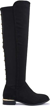 Truffle Womens OTK Black Stretch Studded Back Lycra Block Heel Boots - Black - UK 3