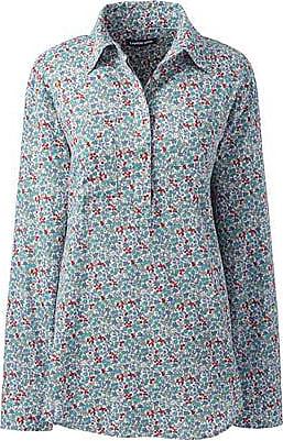 Lands End Gemusterte Bluse im Baumwoll/Leinenmix mit halber Knopfleiste - Weiß - 32-34 von Lands End