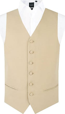Dobell Mens Gold/Buff Morning Suit Wedding Waistcoat Regular Fit Single Breasted-XL (46-48in)