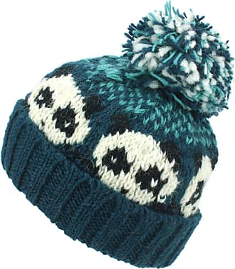 Loud Elephant Wool Knit Bobble Beanie Hat - Panda - Teal Green