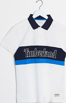 Timberland block pique polo shirt-White