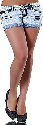 L005 Damen Jeans kurze Hose Hüftjeans Hot Pants Shorts Panty Hochbund Corsage