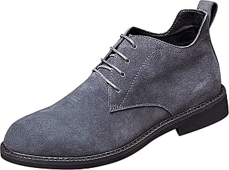Daytwork Men Shoes Slip Ons - Mens Suede Leather Lace Ups Oxfords Shoes Classic Business Casual Work Dress Pointed Martin Boots Grey