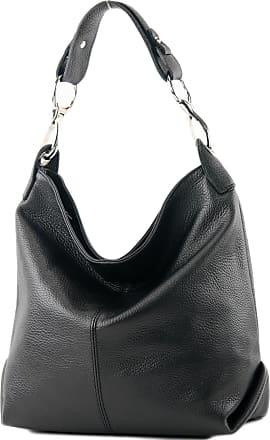 modamoda.de ital. Leather bag Shoulder bag Ladies bag Shoulder bag Leather T168, Colour:black