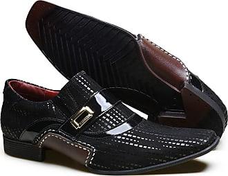 Calvest Sapato Social em Couro com Textura NBP e Metal Dourado Calvest - 3260C982 Preto - 44