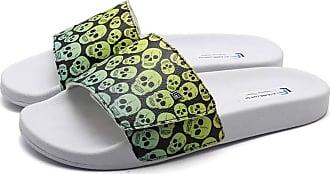 La Faire Chinelo Slide Tira em Velcro La Faire Skull Green (43/44, Sola Branca)