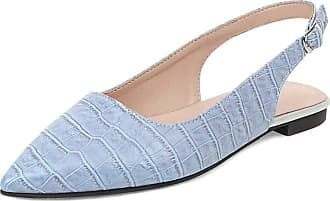 Mediffen Casual Flats Women Pointed Toe Comfort Flats Slingback Flats Shoes Female Driving Shoes Flat Walking Shoes Blue Size 32 Asian