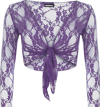 WearAll Womens Floral Lace Tie Up Long Sleeve Ladies Open Cardigan Shrug Top - Purple - 12-14