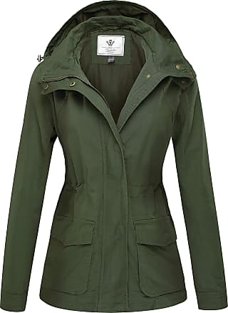 WenVen Womens Hooded Casual Summer Jackets Army Green Large