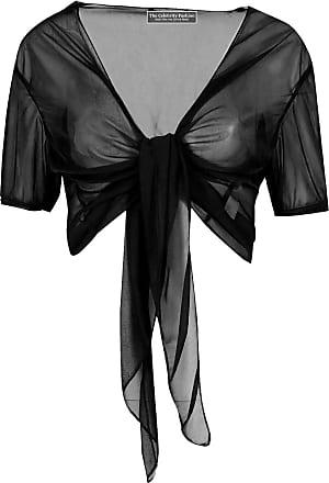 The Celebrity Fashion Ladies Tie Up Crop Mesh Shrug Womens Wrap Open Bolero Cardigan See Through Top Black