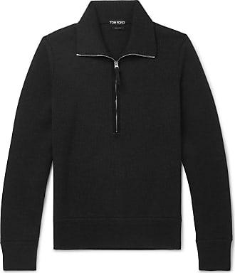 Tom Ford Suede-trimmed Wool Half-zip Sweater - Black