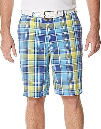 PGA TOUR Mens Golf Performance Flat Front Plaid Short, Mazarine Blue, 40