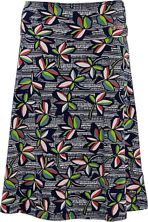 Weird Fish Malmo Patterned Jersey Skirt Navy Size 14