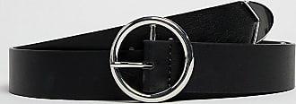 Asos Curve ASOS DESIGN Curve - Jeansgürtel mit Kontraststreifen an den Enden und runder Schnalle-Schwarz