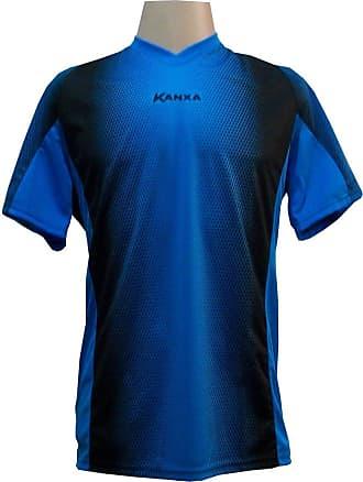 Kanxa Camisa de Goleiro Profissional modelo Pop Graf Manga Curta Tam G Nº 12 - Celeste/Preto - Kanxa