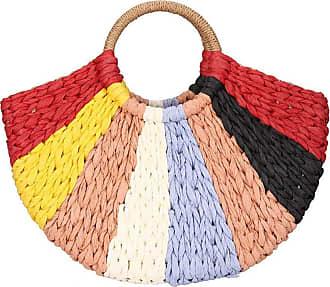 YYW Women Hand-Woven Straw Bag Ribbon Rattan Summer Top-handle BagBeach Handbags with Poms
