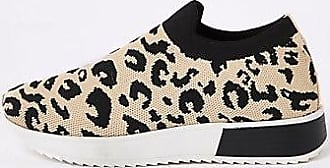 River Island Womens Brown leopard print knitted runner sneakers