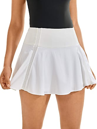 CRZ YOGA Womens Active Sport Skirted Shorts Pleated Tennis Golf Skirt with Pockets White 14