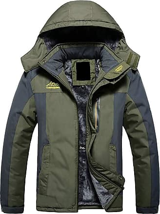 H&E Mens Big and Tall Outdoor Anorak Fleece Jacket Parkas Coat Green 5XL