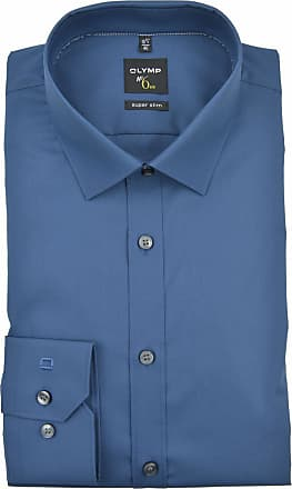 Olymp Mens Plain Classic Long Sleeve Formal Shirt Blue Rauchblau
