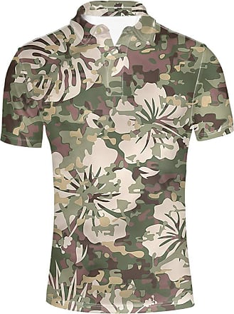 Hugs Idea Classic Mens Camo Polos Shirts Hibiscus Flower Print Hawaii Beach T-Shirt Tropical Party Short Sleeve