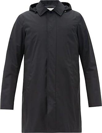 Herno Hooded Wool-blend Raincoat - Mens - Navy