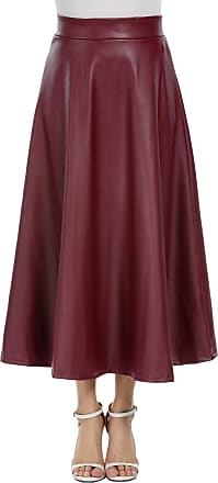 Zeagoo Womens Winter Leather Maxi Skirt High Waist Hippie Skirt Long Pleated Skirt with Flared - Red - L