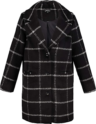 Ulla Popken Womens Plus Size Geometric Checked Coat Black Multi 36/38 718939 10-62+