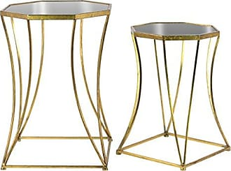 Urban Trends Collection Urban Trends Metal Octagonal Nesting Accent Table with Mirror Top, Tapered Body and Square Base Set of Two Tarnished Finish Antique Gold