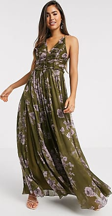 Asos ruched bodice soft cami maxi dress with raw edge detail in khaki floral-Multi