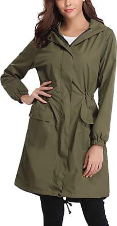 Abollria Womens Raincoat Waterproof Hooded Lightweight Rain Jacket Active Outdoor Windbreaker Trench Coats Army Green