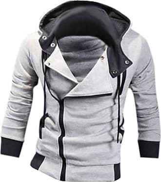 Jeansian Mens Casual Hooded Jacket Slim Fit Outerwear Sweatshirt Tops Coat Zip Sport 8945 LightGray XL