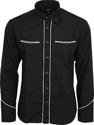 Relco Plain Black Western Cowboy with Sky Piping Long Sleeved Shirt, XXX-Large