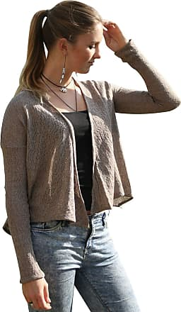 River Island Womens Beige Taupe Pointelle Waterfall Cardigan Size 10