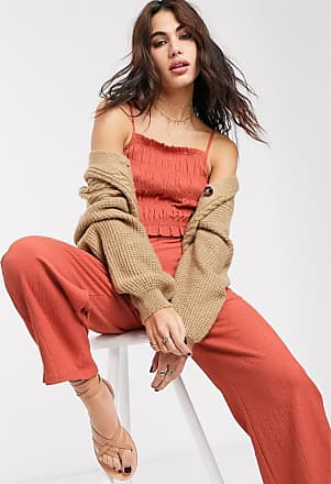 Bershka shirred strappy jumpsuit with ruched front in orange