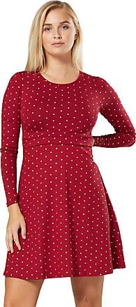 Zeta Ville Zeta Ville - Womens Maternity Nursing Layer Dress Round Neck Long Sleeve - 128c (Crimson with Stars, UK 14/16, XL)