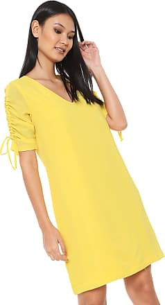 Ana Hickmann Vestido Ana Hickmann Curto Franzido Amarela