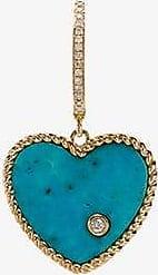 Yvonne Léon Womens 18k Yellow Gold Diamond And Turquoise Singular Drop Earring