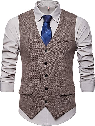Whatlees Mens Slim Tweed Vest with Double-Breasted Button Front Khaki 02010004XKhaki+XXL