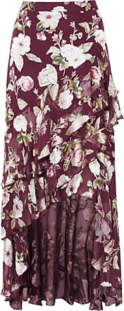 Alice & Olivia Walker Asymmetric Tiered Floral-print Fil Coupé Chiffon Maxi Skirt - Burgundy